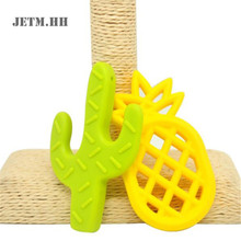 JTEM.HH 5pcs Silicone Cactus Pineapple Teething Necklace Bpa Free Baby Teether Pendant Safety Food Grade Diy Jewelry Pendants(China)