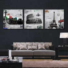 3 Piece Hot Sell Modern Wall Painting Paris Roman Landscape Modular Pictures Home Decorative Wall Art Canvas Poster Oil Painting