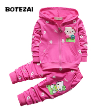 2017 Spring Autumn Baby Girls Clothes Set Cartoon Hello Kitty Casual Sport Hoodied Suit Children Cardigan Sweaters+Pant Set(China)