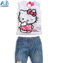 2015 NEW Baby girls clothing sets children's clothing set baby girl lovely hello kitty Kids suit free shipping and retail
