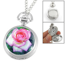 YCYC!5*Hot Sale Rose Print Hunter Case Silver Tone Chain Necklace Quartz Watch(China)