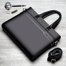 Laorentou Business Briefcase Men Genuine Leather Handbag Work Shoulder Messenger Bags Top Quality Real Leather Crossbody Bag(China)