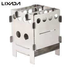 camping hiking wood stove outdoor cookware multifunctional portable camping stove firewood stove Folding Stainless steel Lixada