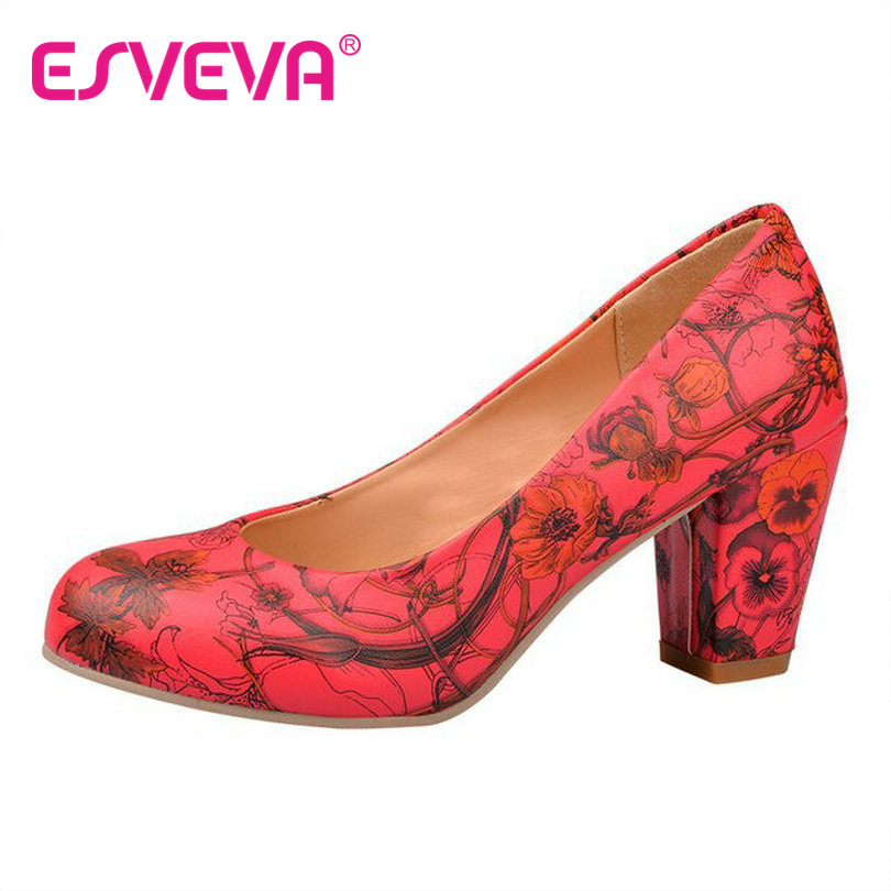 ESVEVA  spring and summer Classic basic square high-heel women pumps round toe ladies wedding shoes<br><br>Aliexpress