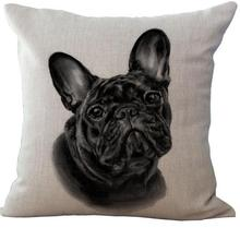 European Style Adorable French Bulldog Dog Series Cotton Throw Pillow Home Sofa Bedside Backrest Cushion Headrest