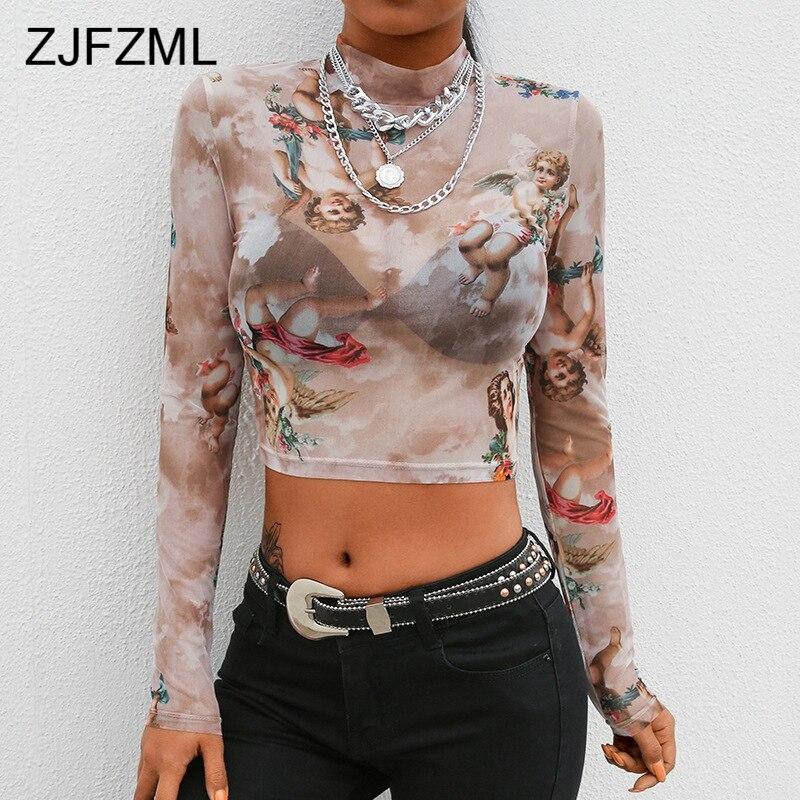 Angel Print Short Sleeve Tshirt Women Turtleneck Mesh Transparent Crop Top