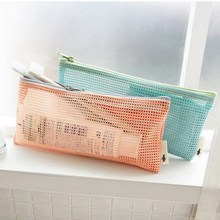 Small Mini Women Mesh Cosmetic Bag Toothbrush pencil lipstick Makeup Make up Organizer Bag light Clutch Water Bolsa Feminia(China)