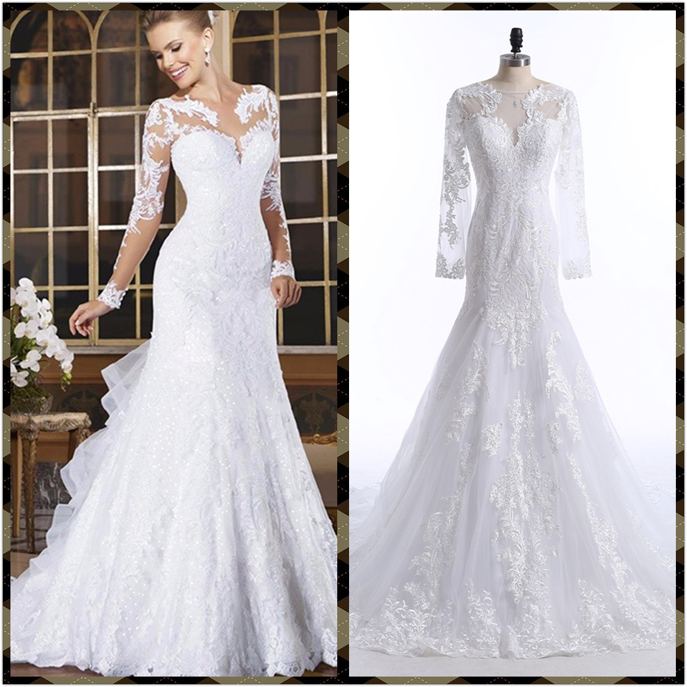 New 2017 wedding dress Sexy Mermaid Lace Appliques Bride Dresses Long Sleeves Lace Bridal Dresses real photos fast