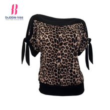 Leopard Print T Shirt Women Summer Patchwork Casual Beach Sexy Split Tie Sleeve Design Loose Top T Shirt Woman Bubblekiss