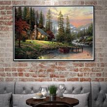 Thomas Kinkade Mountains Nature Landscape River Art Silk Poster Home Decor Oil Painting 12x18 24x36 32x48 Inches Free Shipping(China)