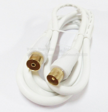 Cuprum 4N OFC Coaxial Audio/Video TV PAL Male to PAL Female RF Cable WHITE COLOR About 1.8M/High Quality/Free DHL Shipping/50PCS