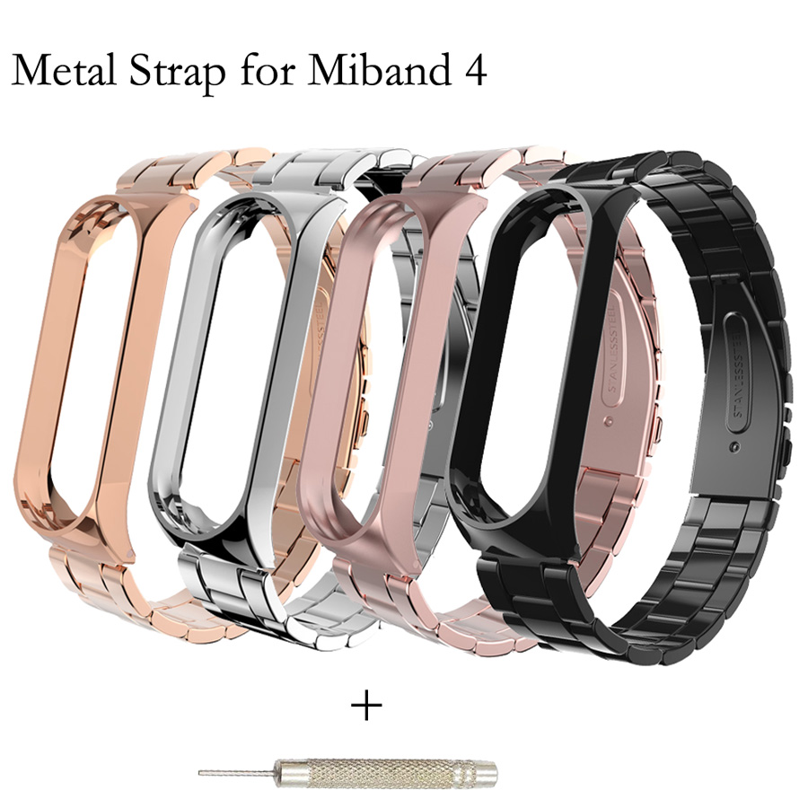 For Xiaomi Mi Band 4 Replacement Sport Stainless Steel Strap Wristband Bracelet