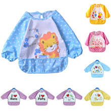 Baby Bibs Waterproof Knitted Fabric Overclothes Baby Bibs Boys Girls Infants Clothes Feeding Care(China)