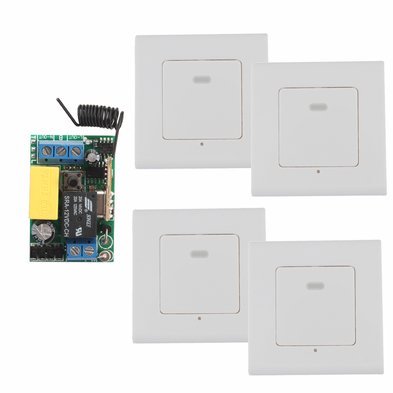 AC 220V 1 CH 10A Relay Wireless Panel Wall Transmitter RemoteMini Receiver Smart Home Light With 4PCS Wall Transmitter<br>