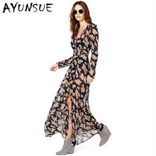 Brand 2017 Summer Dress Women Floral Chiffon Sexy Long Sleeve Maxi Dress Single Breasted Shirt vestidos Print Boho Dress WD0105