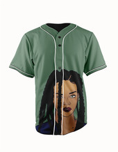 Real American Size beautiful rihanna3D Sublimation Print Custom made Button up baseball jersey plus size
