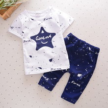 2017 Summer Kids Shorts Suits Casual Cotton Star Printed Boys Clothes Letter Children Clothing Set for 1 2 3 4 Year Toddler Boys
