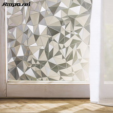 45*200cm Polygon Shape Opaque Static Glass Window Film Privacy Decorative Self-adhesive Glass Door Window Film Sticker Home -45