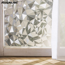 45*200cm Polygon Shape Opaque Static Glass Window Film Privacy Decorative Self-adhesive Glass Door Window Film Sticker Home -45(China)