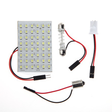 Universal 12V Car Interior Dom Light Panel 48 SMD LED T10 BA9S Dome Festoon Bulb Adapter Practical Car Dom Lights(China)