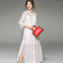 new women's clothing in Europe and the United States large color embroidered silk linen dress of the seven sleeve