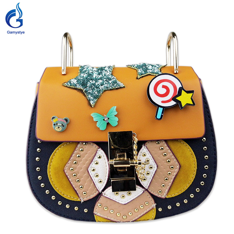 Gamystye 2017 new design Women messenger bags Handbags Luxury quality Lady Shoulder Crossbody Bags fringed Rivet Chain bags<br>
