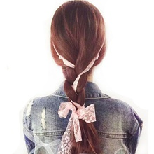 Women Girl Bow Knot Casual Elastic Twisted Lace Pearl Head Hair Band Holder Tail Bowknot Headband Headwear Accessories