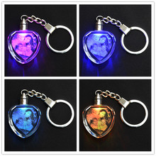 Heart Shape Crystal Ornaments Changing Colors LED Light Laser Engraved Personalized Picture Gifts For Family Friends Lovers Pets