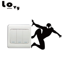 Creative Spiderman Silhouette Light Switch Sticker Cartoon Superhero Wall Stickers for Kids Room Home Decor