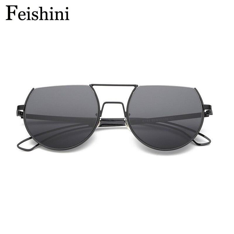 FEISHINI Designer Shop Counters Copper Semi-Rimless Sunglasses Women Mirror Brand Designer Summer color Sun glasses Men 2016<br><br>Aliexpress