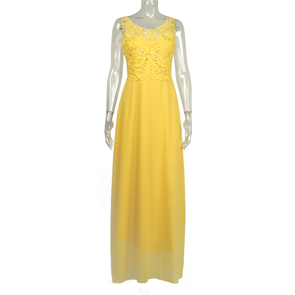 Yellow Lace Hollow Out Women Dresses 2