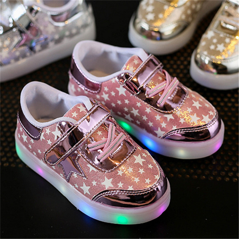 Children Shoes With Light Up 17 Star Printed Unisex Led Light Kids Baby Girls Boys luminate Sneakers Size 21-30 7