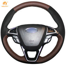 MEWANT Coffee Genuine Leather Black Suede Car Steering Wheel Cover for Ford Fusion Mondeo 2013 2014 EDGE 2015 2016(China)