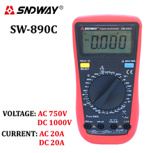 SNDWAY Digital Multimeter TrueRMS ACDC voltage current ammeter voltmeter ohm resistance capacitance frequency temperature tester(China)
