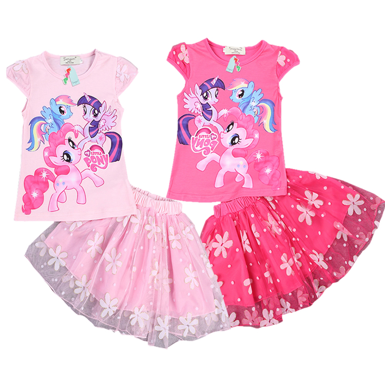 The new summer girls cartoon little pony Fashion suit, T-shirt + skirt two piece,pink and RoseRed two color,6 pieces/lot<br><br>Aliexpress