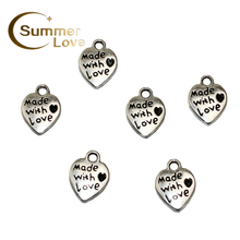 20 Pieces/Lot 12*9mm Love Heart Accessory Supplies For Jewelry DIY Sign Made With Love Accessory For Bracelet Necklace P279