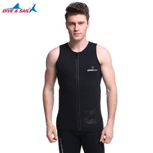 DIVE&SAIL 3MM Neoprene No Sleeved Jumpsuit Men Wetsuit Scuba Dive Vest Snorkeling Inside Wet Suit Winter Swim Warm Surf Upstream(China)