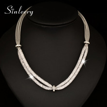 SINLEERY Fashion Twisted Mesh Rhinestone Inside Choker Necklace Gold/Silver Color Statement Necklace For Women XL068 SSC