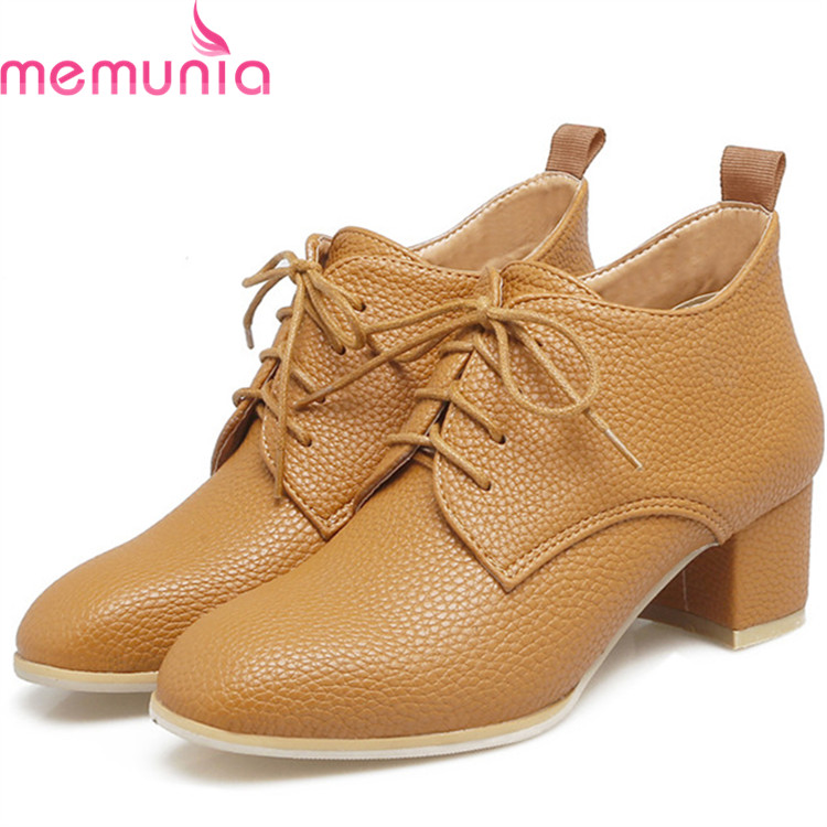 MEMUNIA Big size 34-44 2018 women pumps fashion shoes woman single high heels shoes PU party solid PU party shoes<br>