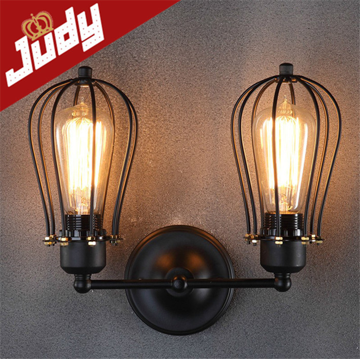 Judy Lighting-size:H 280mm 2 heads cage wall lamp vintage loft retro style wall light AC90-240V E27 40-60W edison bulb<br><br>Aliexpress