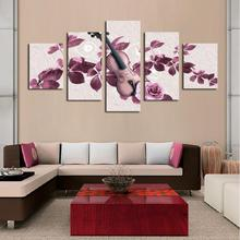 Unframed 5 Panels Purple Flowers and Violin Print Oil Painting Modern Canvas Wall Art for Wall Decor Home Decoration Artwork