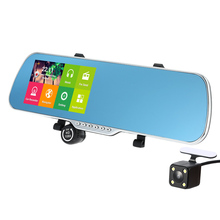 "5"" Android 4.4 Smart System GPS Navigation Car Rearview Mirror DVR Dual Lens Front Rear 1080P Camera Recorder with G-sensor"