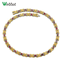 Wollet Necklaces for Women 50cm Red Crystal High Quality Germanium Infrared Gold Color Pure Titanium Magnetic Necklace