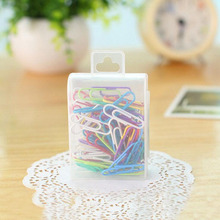Y16 85pcs/Box Candy Color Metal Paper Clip DIY Bookmark Student Stationery School Office Supply Marker of Page Paper Decor 2.8cm