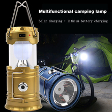 Novelty Luminaire LED Exterieur Solar Power Collapsible Flashlights Portable Lamp Rechargeable Hand Lamp Camping Lantern Light(China)
