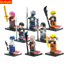 GUSUG 8pcs Super Heroes Marvel Avengers figures Naruto Bricks Building Blocks Education Baby Toys gift