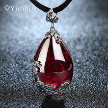YinShiJi Retro 100% 925 Silver Sterling Garnet Chalcedony Natural Gemstones Pendant Necklace Jewelry For Women Vintage(China)