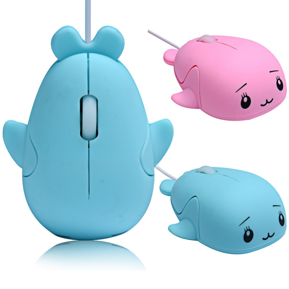 Cute 3D Dolphin Mouse USB Wired Optical Gaming Mice Novelty Whale Fish Animal Dolphin Shaped Ergonomic Mouse gift For PC Laptops(China)