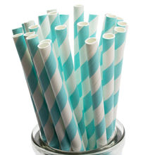 25 Paper Straws Tiffany Blue Striped Paper Straws Party Favor Anniversary Great in Mason Jar Mugs w/ Daisy Lids Aqua Straws(China)