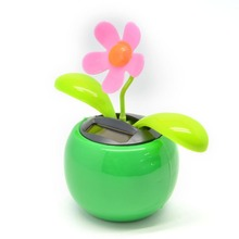 Car Styling Solar Power Flip Flap Flower For Car Swing Dancing Flower Toy Car sunflowers Colorful Car decorations